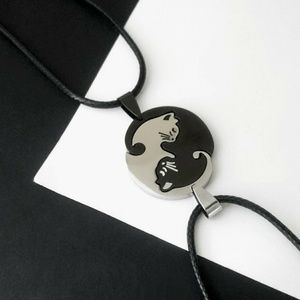 New necklace set yin yang cat kitty crescent moon
